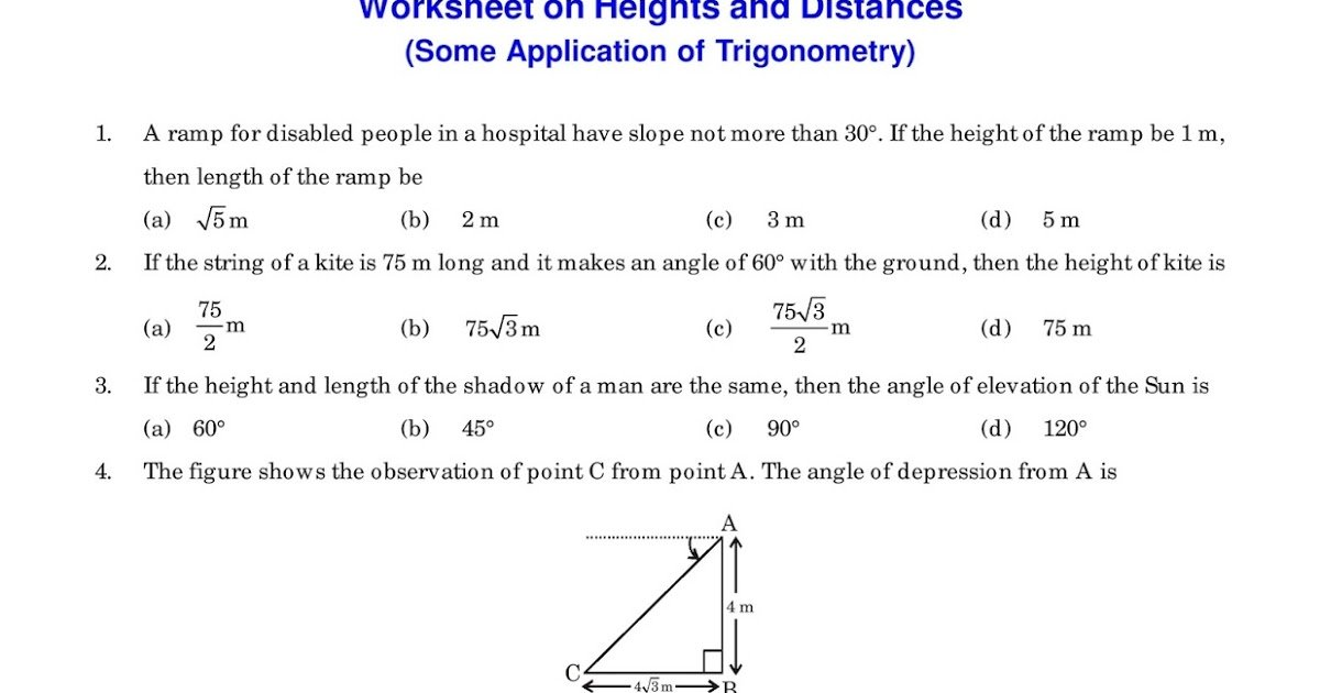 Height and Distance Worksheet