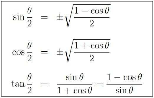 Trigonometry Formulas involving Half Angle Identities