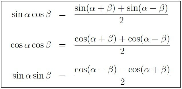 Trigonometry Formulas involving Product identities