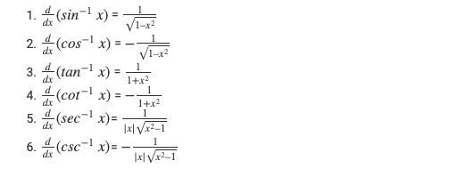 Differentiation Formulas for Inverse Trigonometric Functions